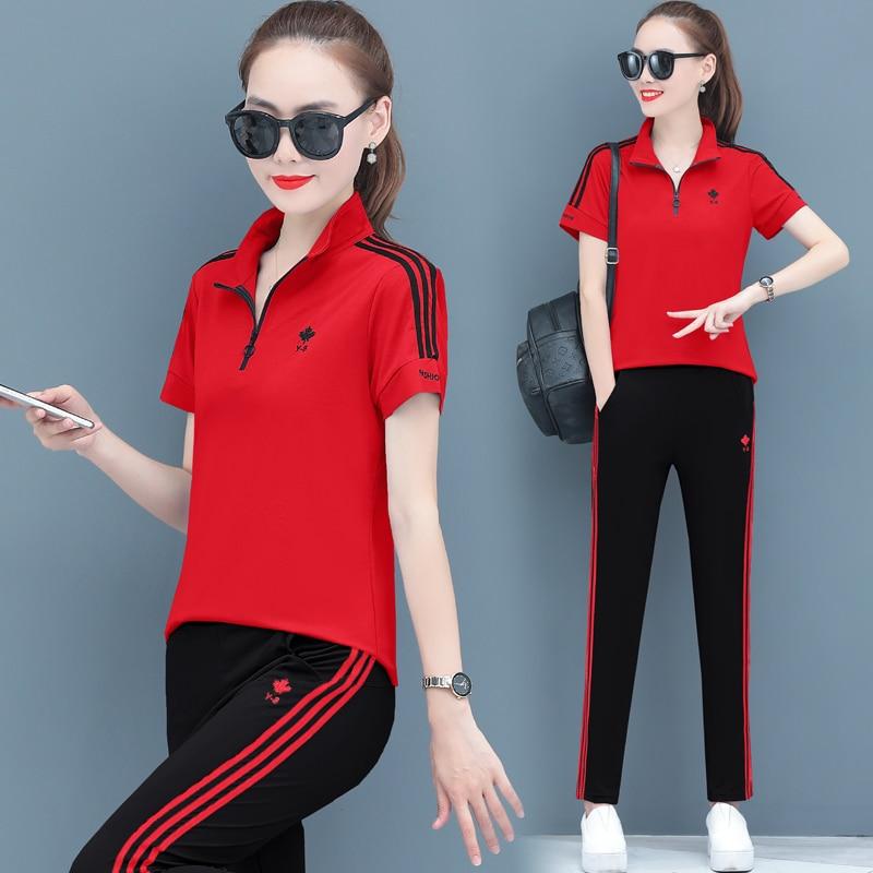 Vermelho duas peças conjunto de treino feminino casual feminino verão 2020 nova moda tamanho grande solto calças curtas de mangas compridas suporte