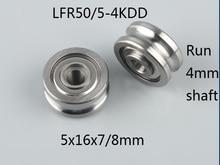 200pcs/lot  LFR50/5-4KDD U Groove Track Guide Roller Pulley 5*16*7/8mm LFR50/5-4