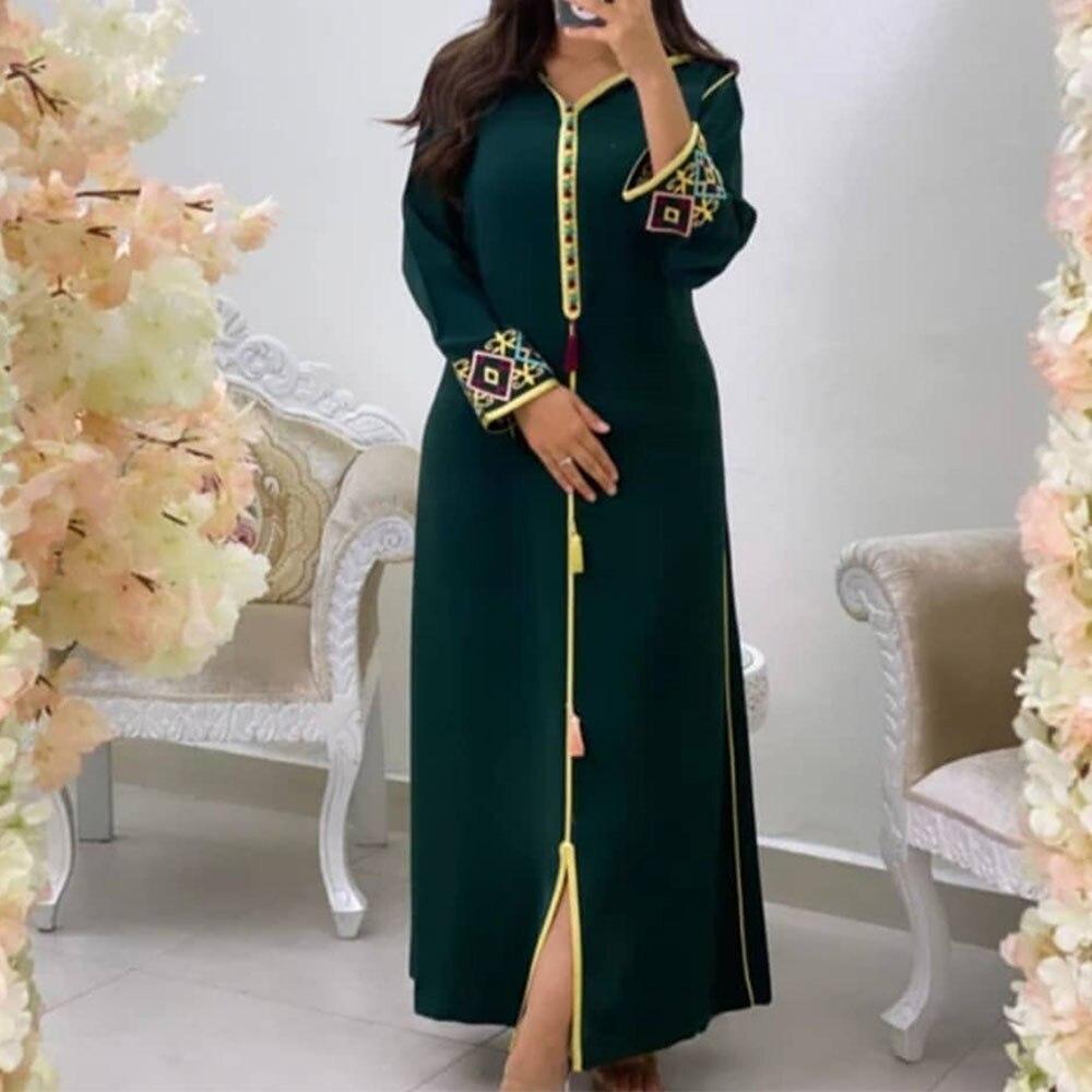 فستان ماكسي نسائي صيفي مطرز بالورود بقلنسوة قفطان إسلامي عباية 2021 موضة أكمام طويلة أنيقة مكشكشة فساتين طويلة