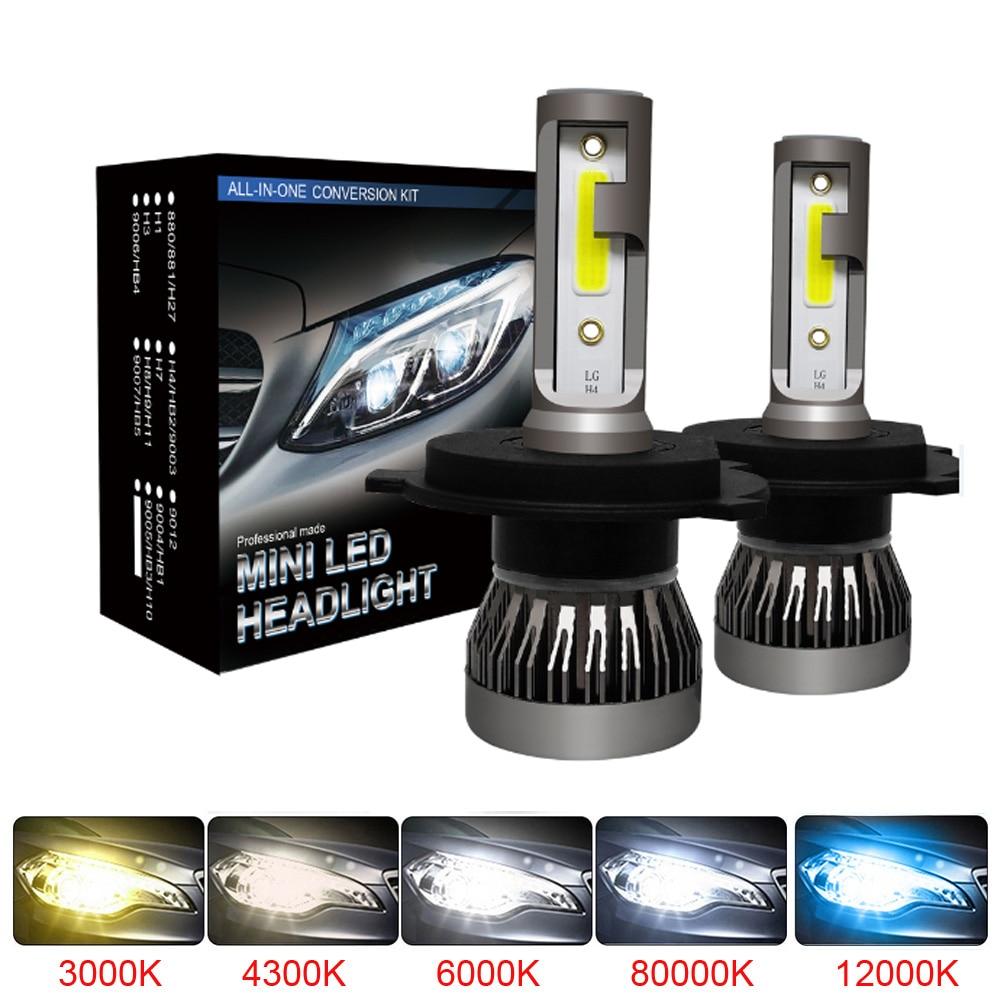 2PCS LED 12000LM/PAIR Mini Car Headlight Bulbs H1 H7 H8 H9 H11 Headlamps Kit 9005 HB3 9006 HB4 Auto Lamps 4300K 8000K