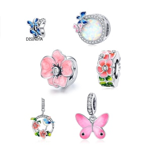 Colorful Birds Flowers Leaves CZ  Pendant Spring Charm fit Original Bracelet Jewelry Accessories DIY Making SCC1726