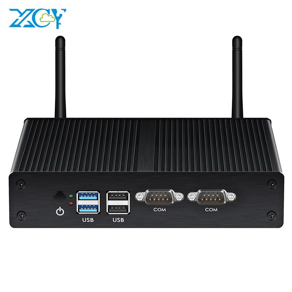 Мини-ПК XCY без кулера, устройство с двумя LAN-портами Celeron J4125, Windows 7, Wi-Fi, HDMI, VGA, HTPC, Nuc