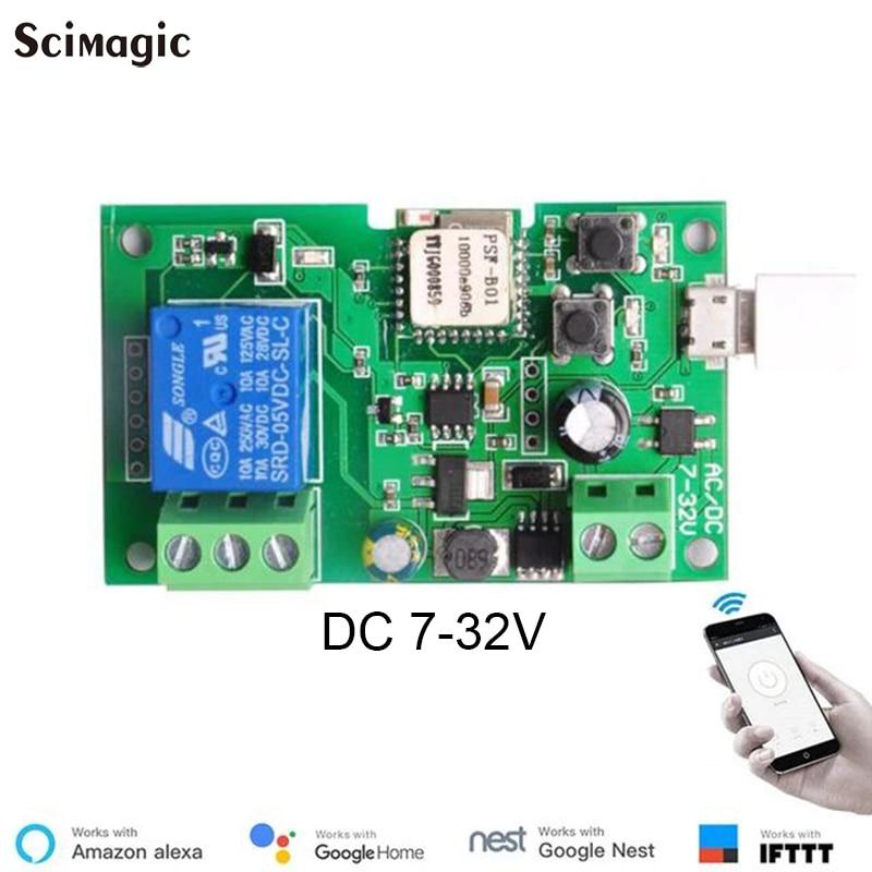 1PCS WIFI Scimagic Ewelink Relay WiFi Module Garage Door Switch Compatible With Voice System Nest Alexa Google