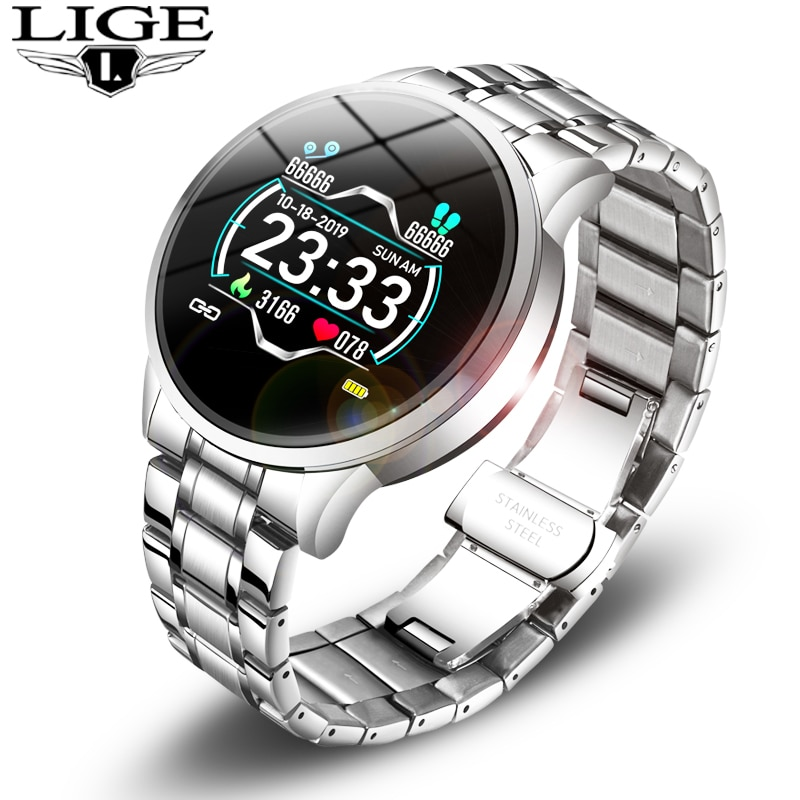 LIGE Fashion Smart Watch Men Women Sport Fitness Tracker for Android ios Heart Rate Blood Pressure M