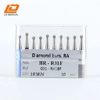5pcs dental diamond burs 001 r018f ra shank br r31f drill for dental tools ball round teeth grinding polishing tolls kit