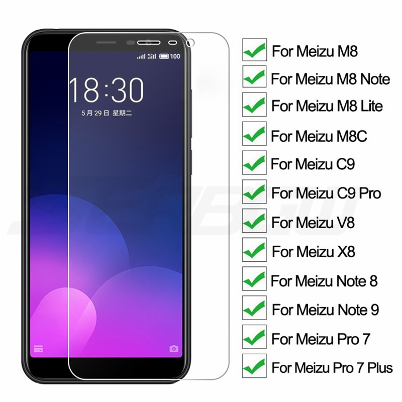 9H Protective Glass On The For Meizu C9 Pro M8 Lite M8C X8 M8 Note 8 9 V8 Pro 7 Plus Tempered Screen