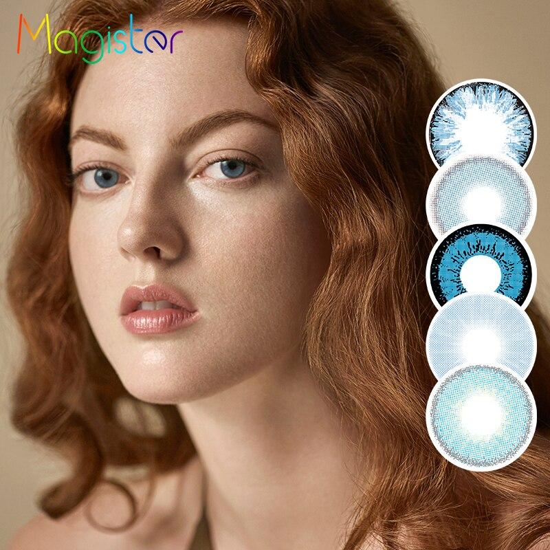 Serie MAGISTER AZUL MARINO contactos de colores 2 unids/par lentes de contacto desechables anuales para ojos aspecto Natural con estuche para gafas