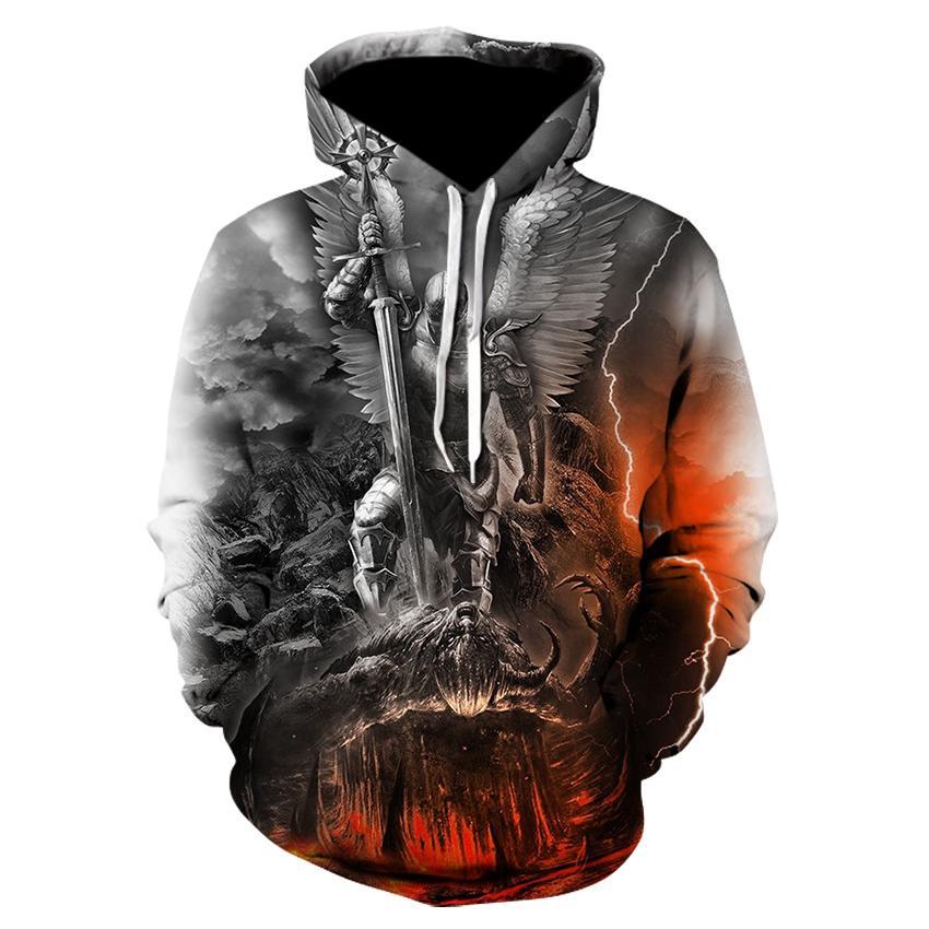 Men clothes 2021 Skull Hoodie Men/Women Angel Demon War 3D Print Hoodies Cool Sweatshirt Autumn Winter Casual Hooded Tops