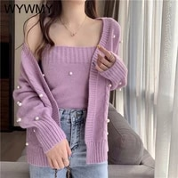 wywmy two piece set women loose long sleeve knitted cardigan and camisole tender pearl purple fashion sweater 2 pieces outfits
