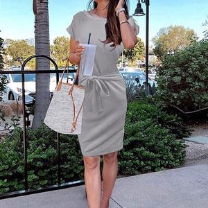 3#Dresses For Women Casual Elegant Women's Summer Striped Short Sleeve T-shirt Dress Casual Tie Waist With Pockets Vestidos