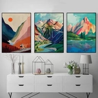 abstract mountain poster sunset cycling canvas painting nordic wall art print cyclist gifts morden picture for living room decor