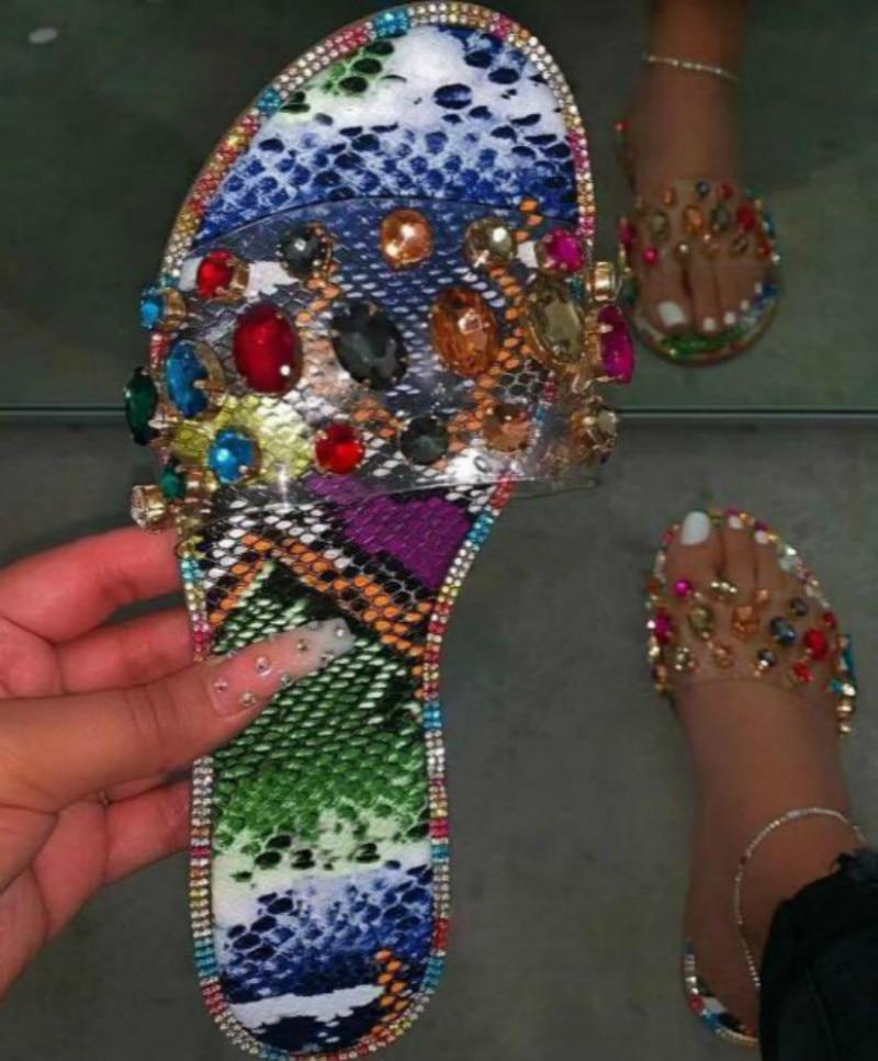 2020 Black Snake Pattern Gem PVC Slippers Women Outdoor Candy-colored Beach Sandals Summer Fashion Ladies Bright Rhinestones