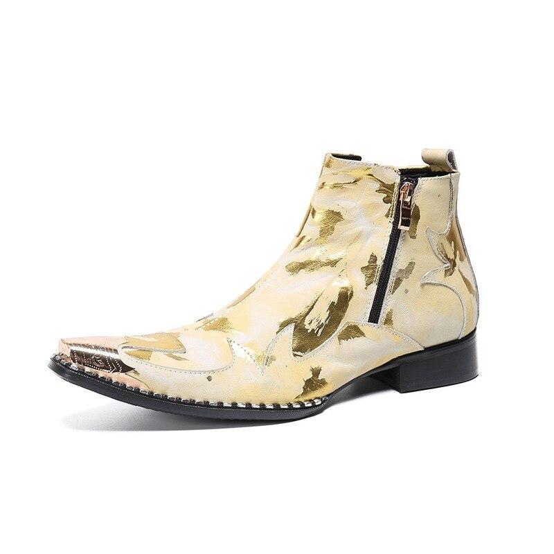Botas de Luxo Sapatos de Casamento Couro com Zíper Botas de Tornozelo Moda Masculina Metal Apontado Vestido Ouro Impressão Festa Genuíno Cowboy 2021