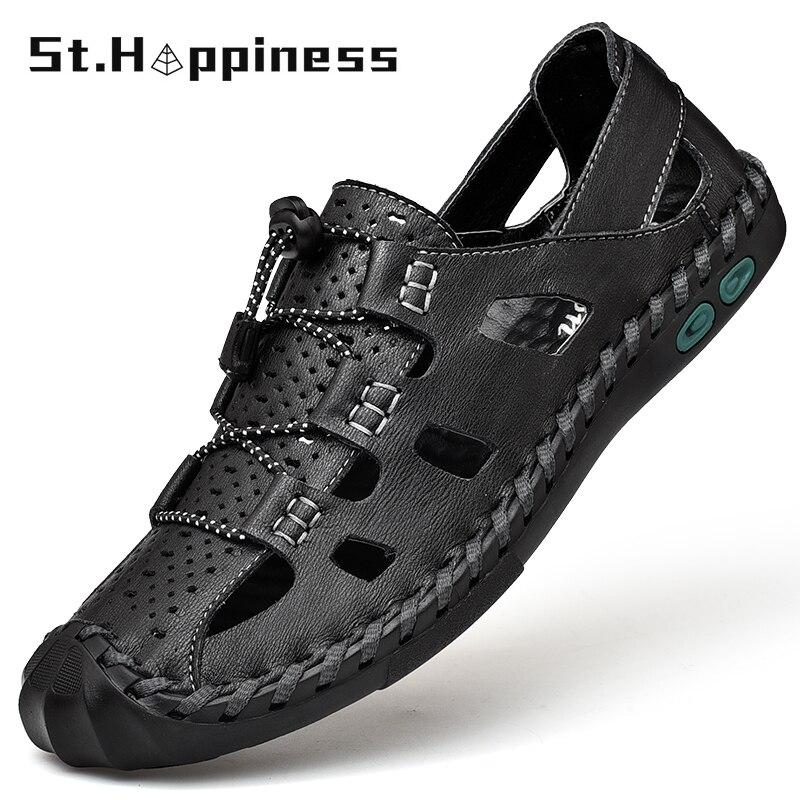 aliexpress.com - 2021 New Summer Men's Leather Sandals Brand Fashion Casual Handmade Roman Sandals Outdoor Sport Hiking Beach Sandals Big Size 48