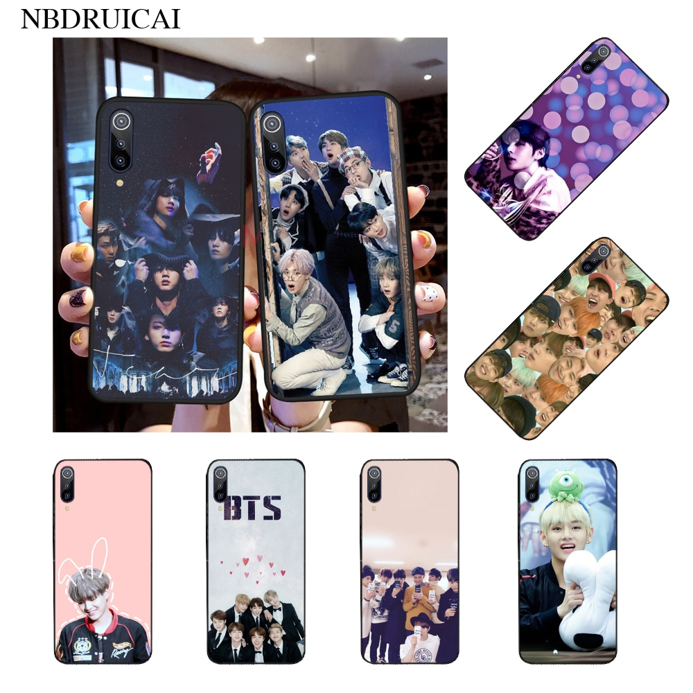 NBDRUICAI Kpop Bangtan Boys TPU black Phone Case for Xiaomi 8 9 se 5X Redmi 6pro 6A 4X 7 5plus note 5 7 6pro