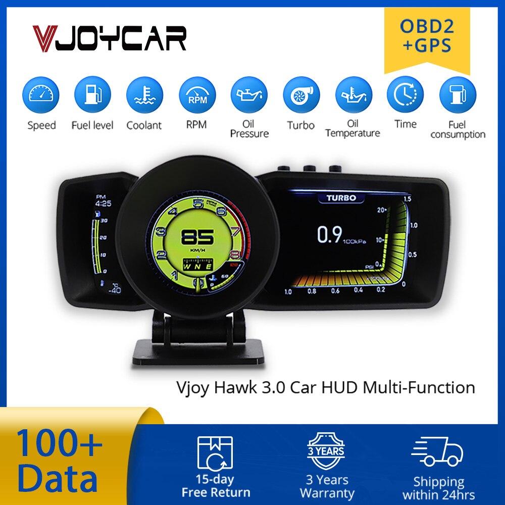 Vjoy Hawk 3.0-لوحة القيادة للسيارة ، متعددة الوظائف ، OBD2 GPS ، عداد السرعة الذكي ، نظام إنذار Turbo Boost