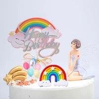 rainbow happy birthday cake topper paper letter cake topper golden silver colorful cake topper clouds smiley cupcake flag decor
