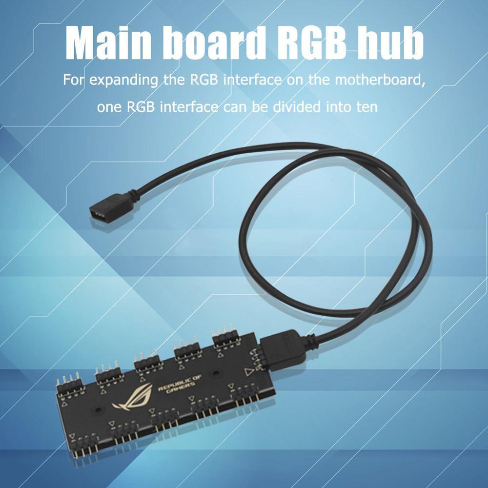 5v 3pin/12 V 4Pin RGB sincronización HUB Splitter 1 a 10 RGB sincronización Cable de extensión para GIGABYTE AURA Sata tipo hub rgb