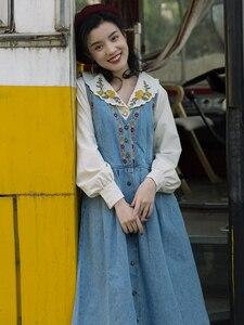 Mori Girl Lolita Hippie Boho Gypsy Retro Vintage Embroidered Floral 2 Piece Set Cotton Shirt Lantern Sleeve Denim Tank Dress