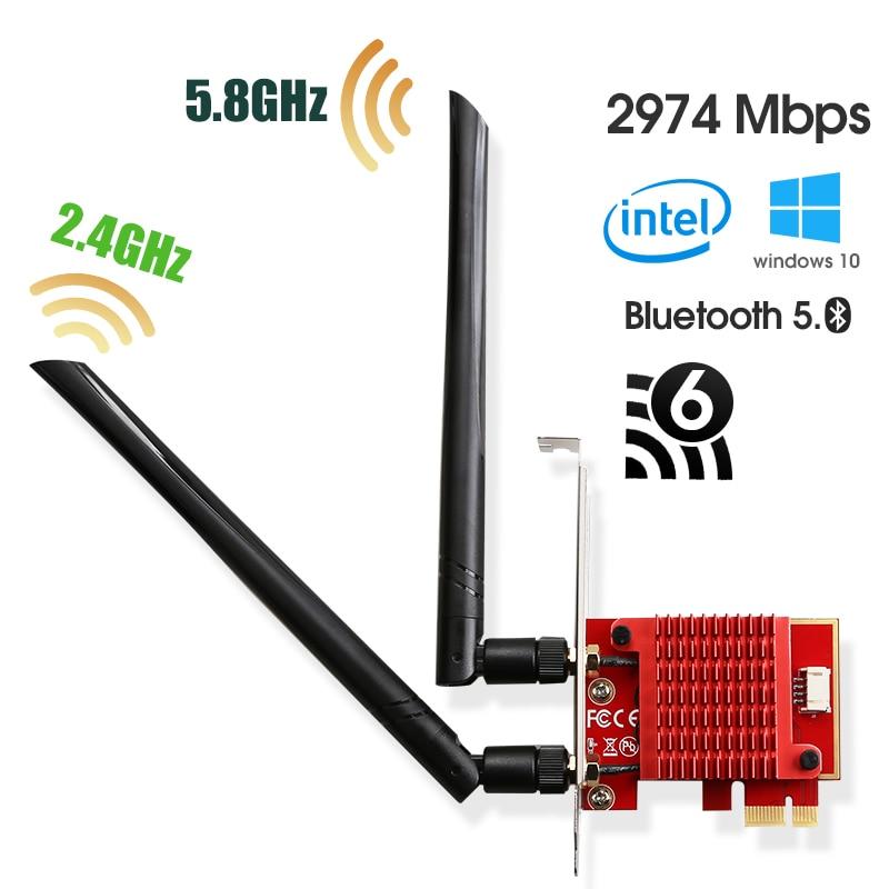 إنتل Ax200 WiFi محول 5 ghz واي فاي محول ax200ngw واي فاي دونغل 5 ghz بلوتوث شبكة WiFi 6 بطاقة Pci اكسبرس هوائي للكمبيوتر