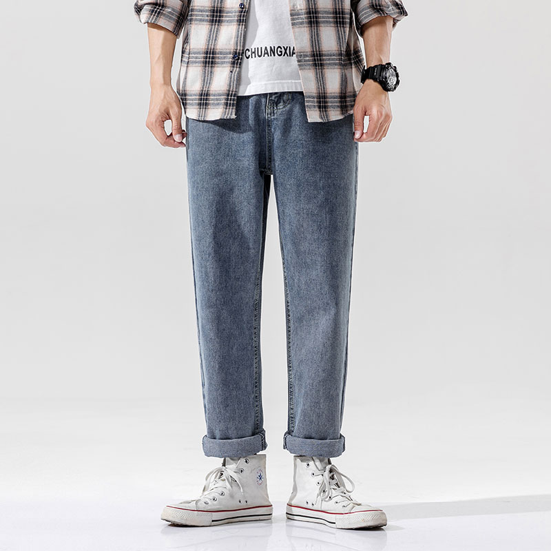 Men's Spring/Summer/Autumn/Winter Casual And Loose Flat Waist Jeans ,Tooling Wide Version Fashion