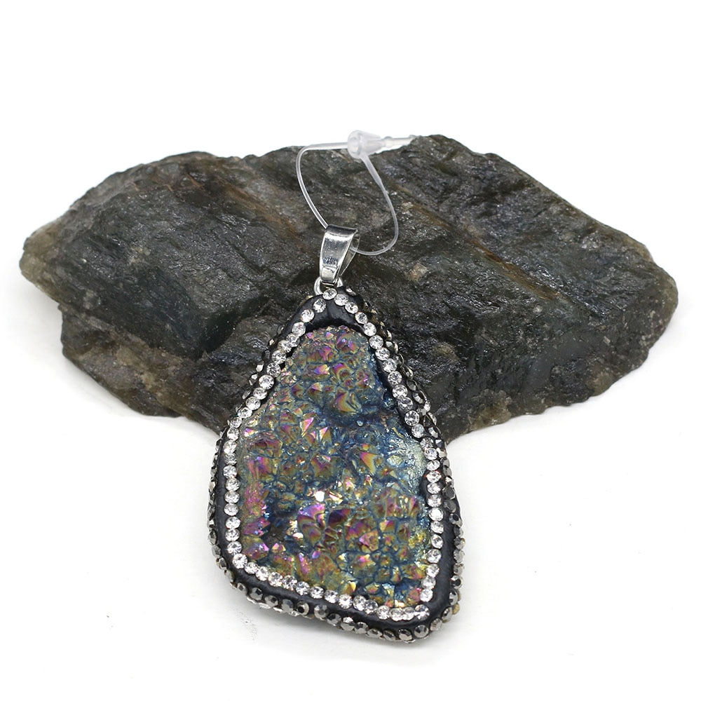 Trendy Irregular Crystal Druzy Pendants Natural Druzys Agates Pendant Charms for Jewelry Making DIY Necklace Size 30x40-35x45mm  - buy with discount