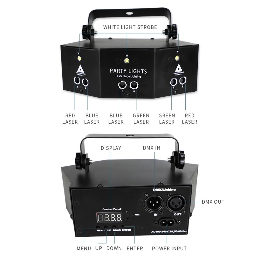 8 глаза RGB сцена лампа DMX пульт управление сцена стробоскоп свет DJ светодиод лазер проектор Рождество бар вечеринка свет дом свет