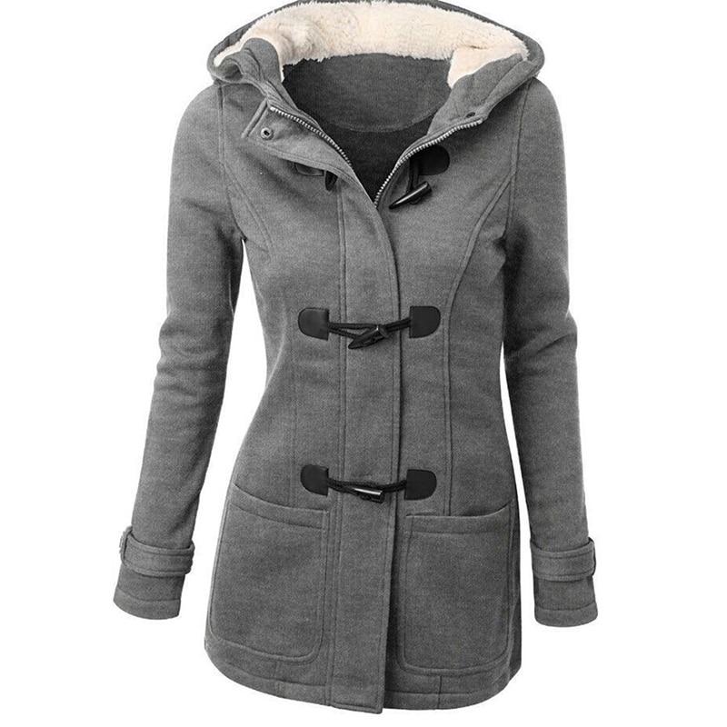 Sudadera con capucha mujer chaqueta de manga larga de talla grande grueso cálido Duffle abrigo hebilla frontal invierno Parka abrigo prendas de abrigo con capucha Parkas