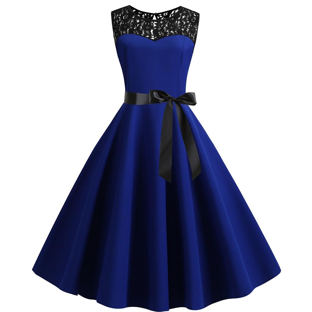 Sagace Dress Women Vintage Retro Sleeveless Lace Splice Solid Party Prom Swing Dress Y2k Женск�