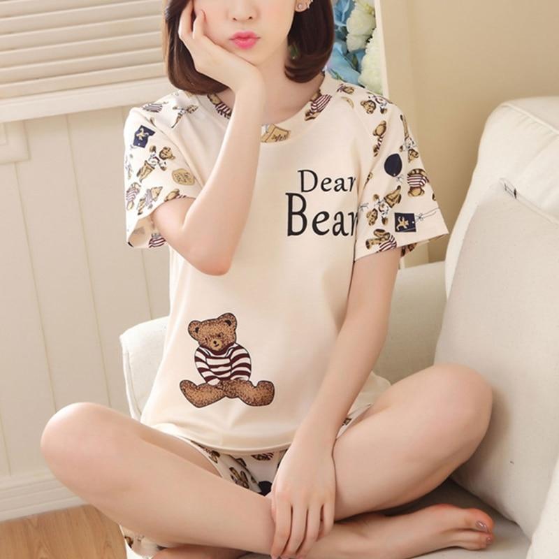 Pijamas de algodón de manga corta de dibujos animados para mujer