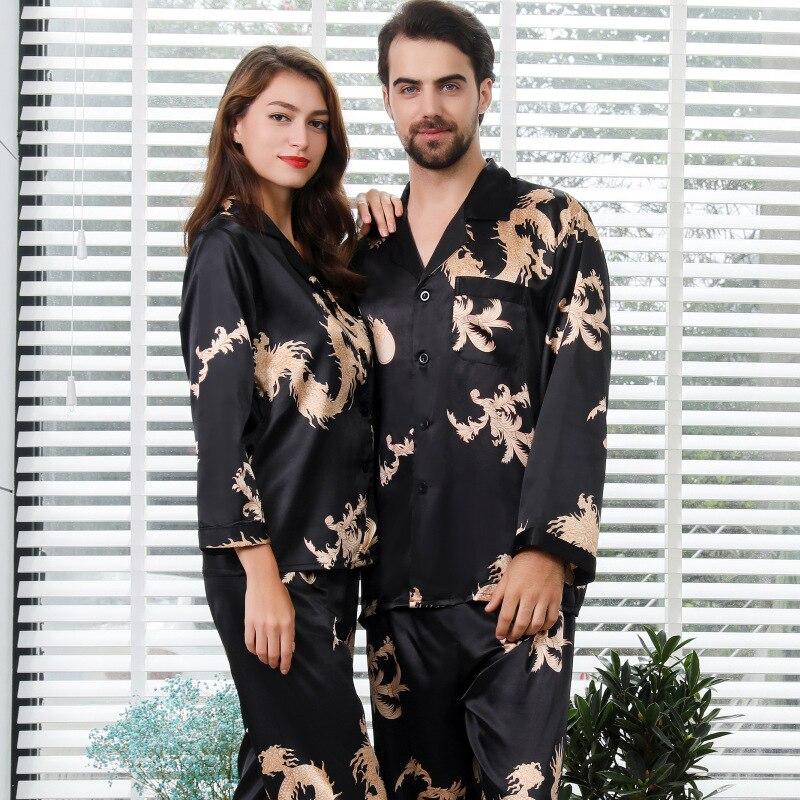 Conjunto de pijamas de seda satinada de manga larga para hombre y mujer con cuello en V y estampado de dragón y Fénix para el hogar
