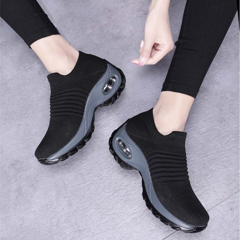 Fashion Women Shoes Chunky Sneakers Casual Socks Shoes Air Cushion Women's Sneakers Outdoor Sports Breathable Mesh Walking Shoes