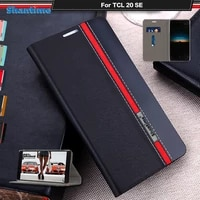 luxury pu leather case for tcl 20 se flip case for tcl 20 se phone case soft tpu silicone back cover