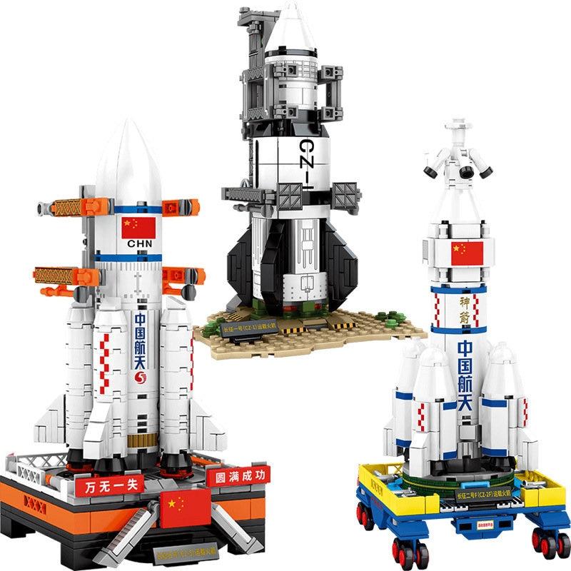 Juego de bloques de lanzamiento de cohetes chinos Space Explorer, minivehículo aeroespacial, modelo de construcción de ladrillos, juguete para niños