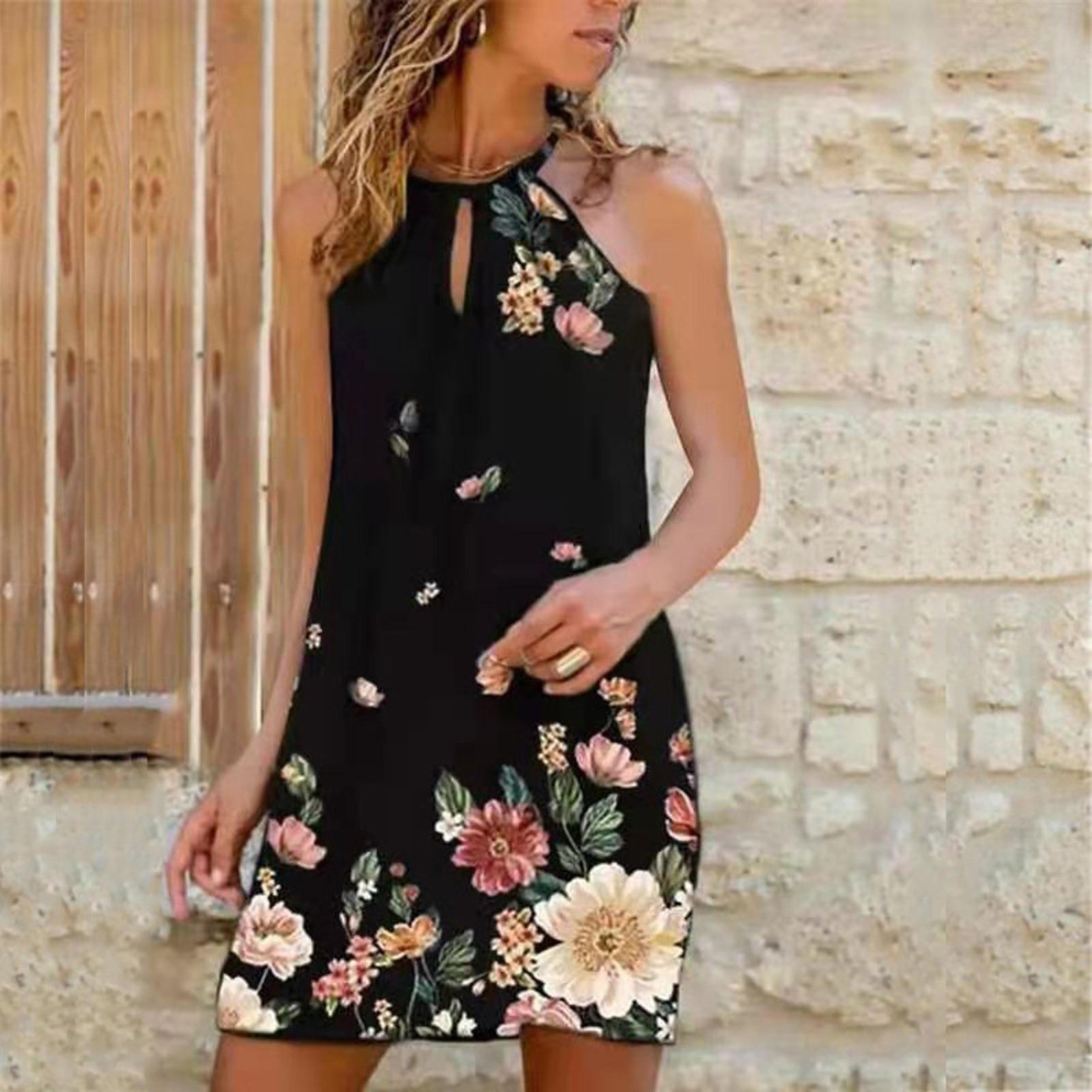 Halter Summer Beach Dress Women Vintage Floral Print Party Dress Elegant Office Lady Mini Casual Dress Vestido Plus Size
