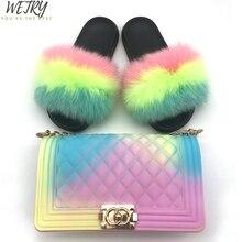 Donne reale della pelliccia di fox diapositive usura interna pistoni di estate nuove scarpe da spiaggia di colore della gelatina del sacchetto della catena del sacchetto di spalla diagonale set femminile