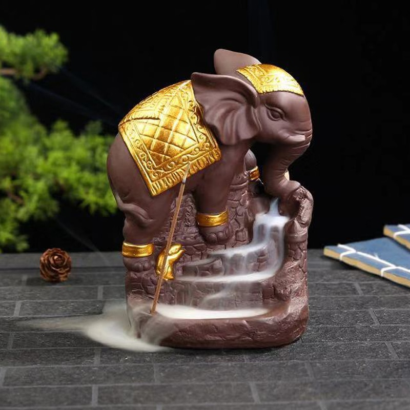 Refluxo de Elefante Decoração da Casa Incenso de Sândalo Queimador de Cerâmica de Base Estátua Incensário Incenso