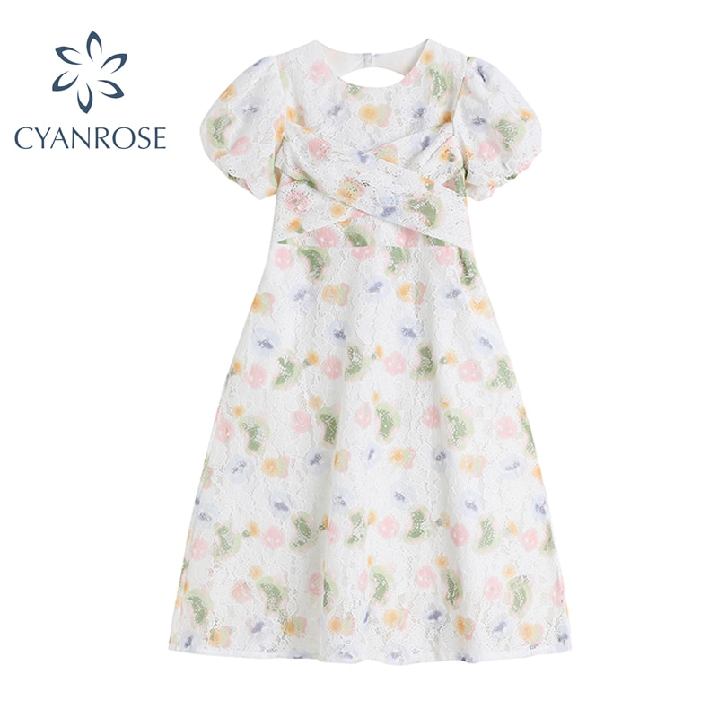 Summer Women's Floral Printing Midi Dress Elegant Vintage French Sweet Crewneck Cross High Waist Lace Up Casual Vestido Mujer