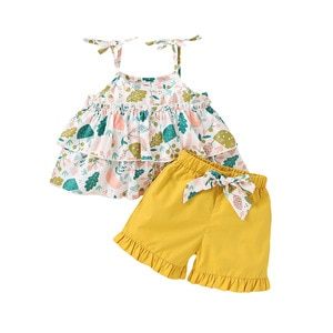 Children's baby kids girls summer vest shorts bow clothing sets girls cotton printed sling casual sweets clothing sets 7193 11