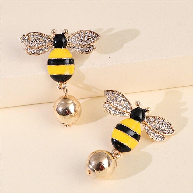 Pendientes Vintage de Abeja De Oro JURAN, Pendientes largos de marca de diseñador de joyería de lujo, Pendientes de gota de declaración para Mujer