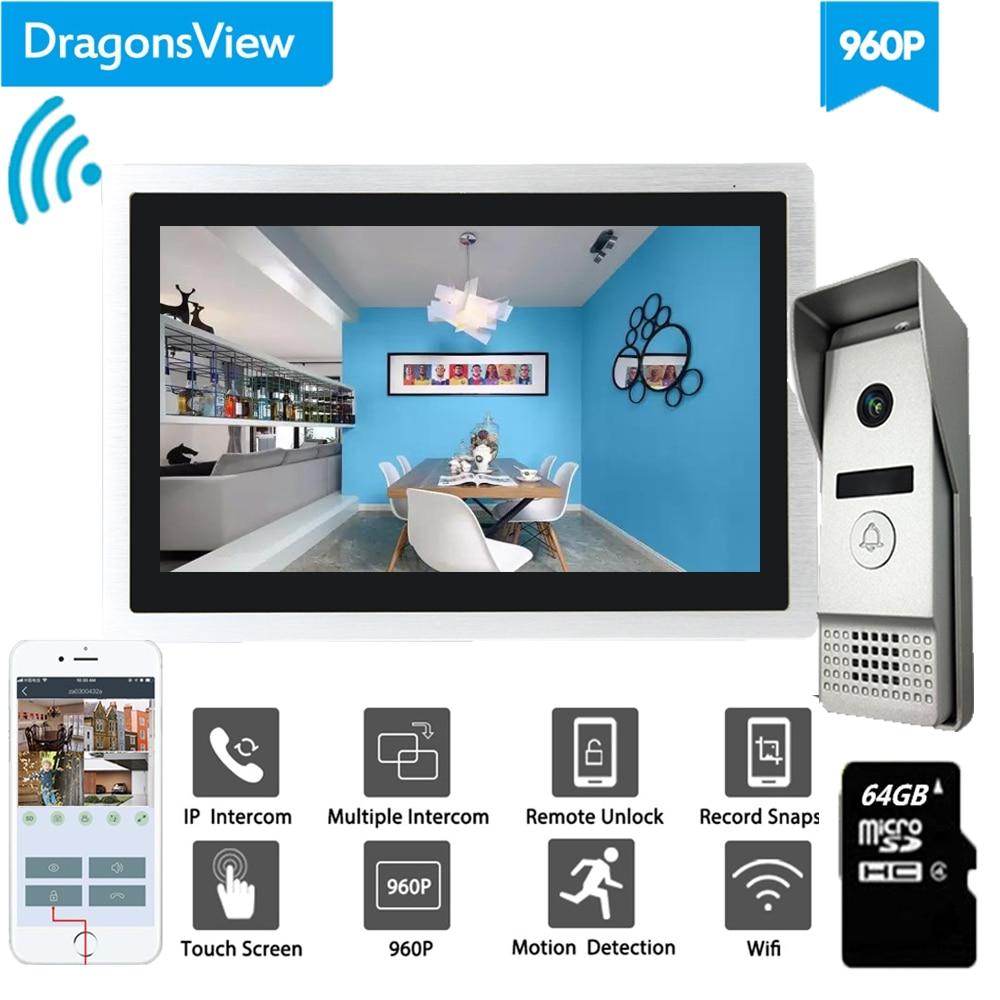 Dragonsview-جرس باب بالفيديو ، wi-fi ، مع شاشة IP ، نظام اتصال داخلي بزاوية عريضة ، شاشة تعمل باللمس ، تسجيل ، كشف الحركة