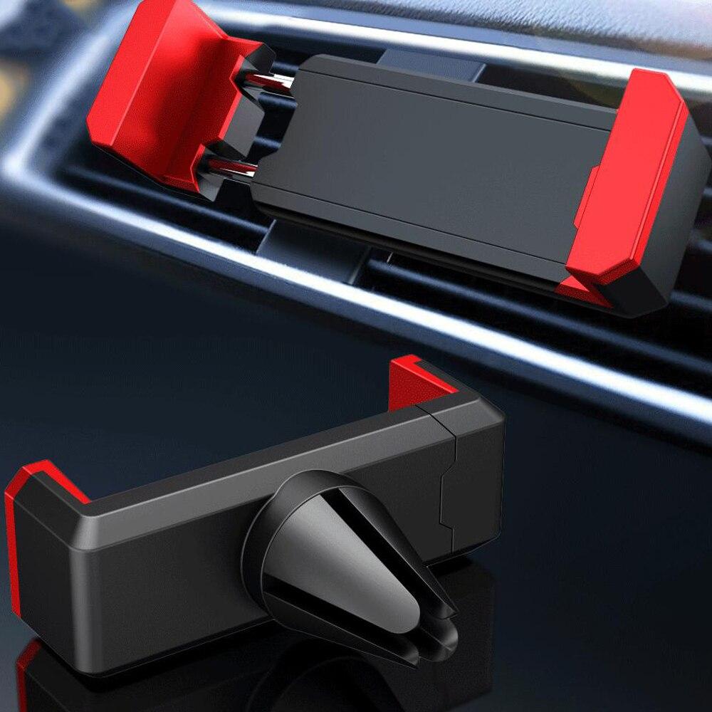 Soporte universal de teléfono para coche en la rejilla de ventilación del coche soporte de montura para iphone Samsung teléfonos móviles soporte de coche soporte de silicona ABS