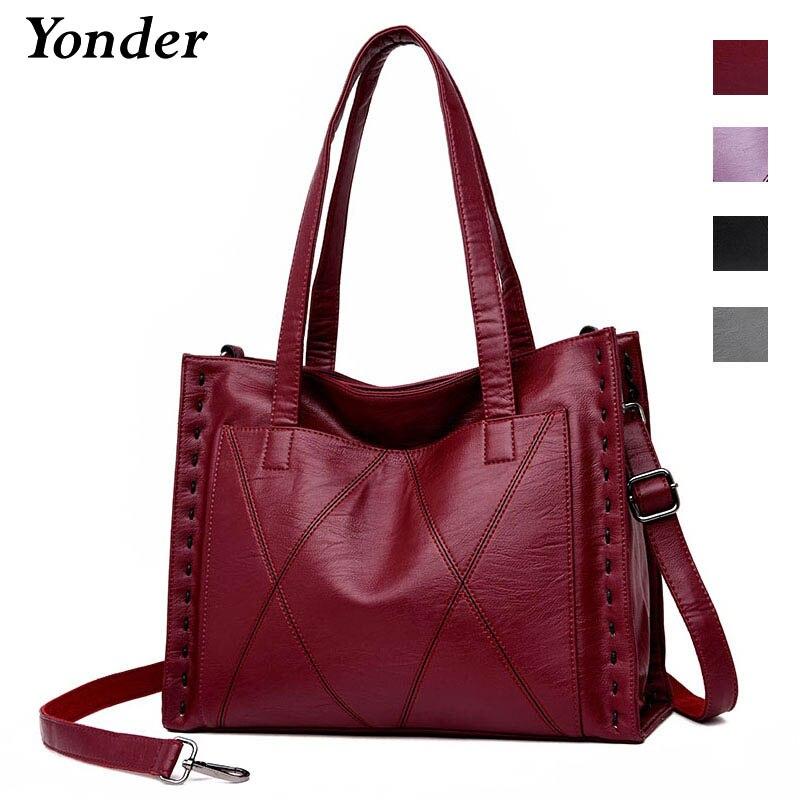 Yonder marca feminina bolsa de couro genuíno bolsa de ombro feminino com grande capacidade das senhoras bolsa de alta qualidade da pele carneiro tote bags