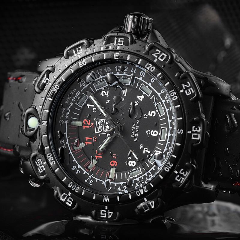 outdoor Army Sports Luminous tube Quartz Wrist Watches 50M waterproof Men Black Silicone Military Watch Clock Men's watch