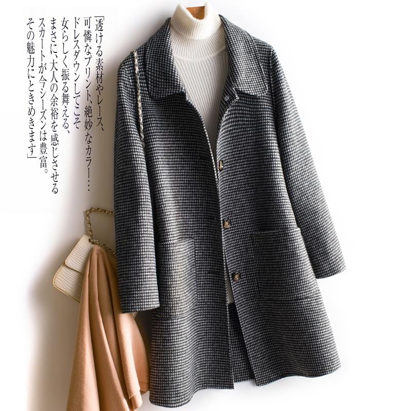 Abrigo de lana de doble cara para Mujer, Chaqueta larga Elegante de...