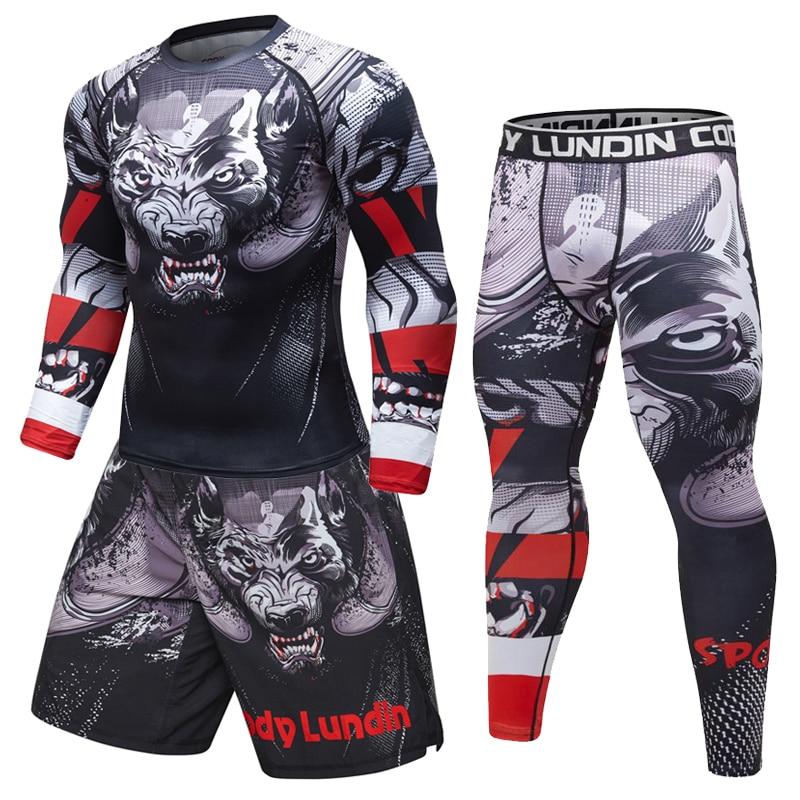 New Men's tracksuit 3D Prints Tight Skin Compression Sport Suit Men MMA Rashguard Body Building Top Fitness Sports Running Sets
