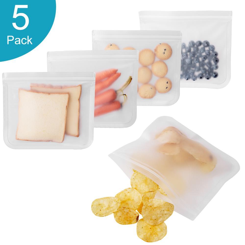 5 pçs/lote reusável selo sacos de plástico zip bloqueio leakproof recipientes levantam-se saco sanduíche de armazenamento de alimentos viagem casa organização