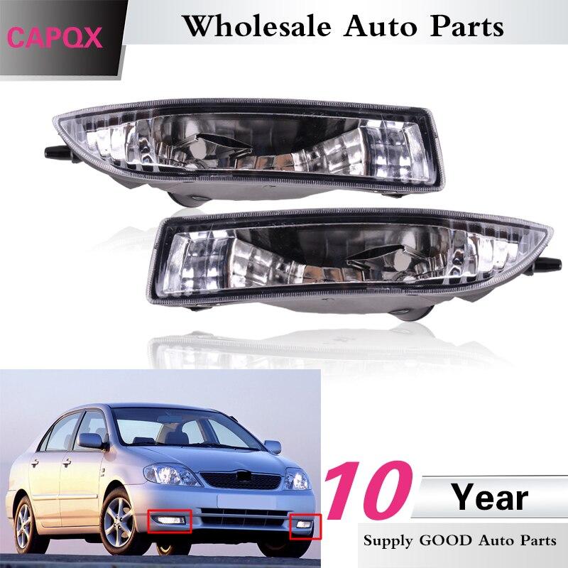 CAPQX, 1 par, luz antiniebla delantera de alta calidad para Toyota Corolla 2000 2001 2002 2003 2004, luz antiniebla transparente, repuesto de lámpara de conducción