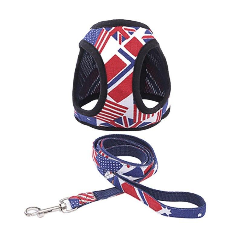 Chaleco de mascota transpirable arneses camuflaje bandera ancla protegido arnés de pecho mascota correa de pecho perro arnés Correa cables de cuerda