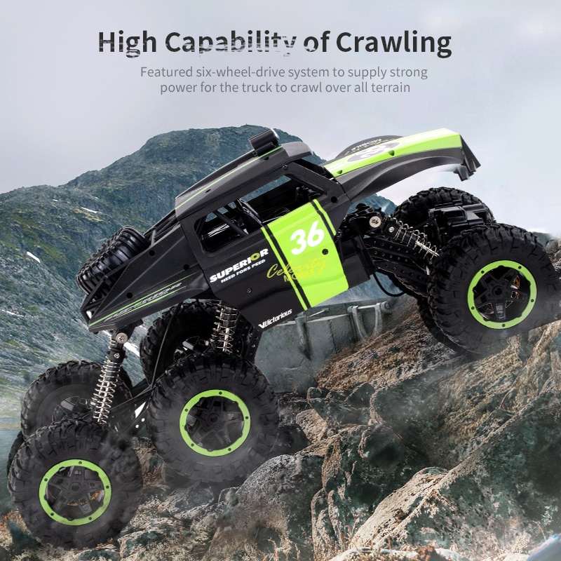 2021 NEW 2.4G Six Off-Road RC Car Six Wheel Drive Climbing Car Electric Front Led Lights Remote Control Toys Model Gift For Boys enlarge